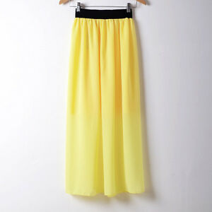 YELLOW-Women-Double-Layer-Chiffon-Pleated-Long-Maxi-Dress-Elastic-Waist-Skirt