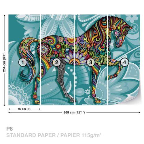 Tapete Fototapete Natur Tiere psychodelisches buntes Pferd Galopper Ross