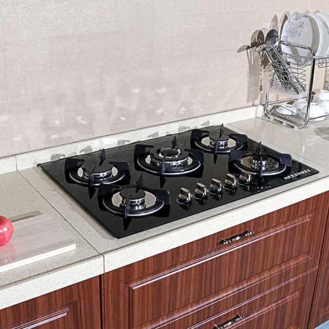 WINDMAX 24 Black Electric Tempered Glass Built-in Kitchen 4 Burner Gas Hob Cooktop