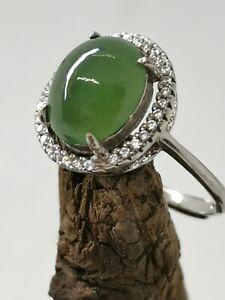 Ice Green Burmese Jadeite Jade Ring/冰晴绿天然缅甸翡翠戒指/ナチュラルビルマ翡翠リング