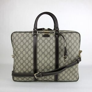 1e052d3a7d25 Gucci Men s Beige Ebony GG Coated Canvas Briefcase 201480 FCIEG 9643 ...