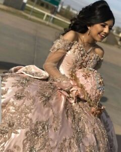 Rose Gold Princess Quinceanera Dress Long Sleeves Applique Beading Sweet 16 Gown