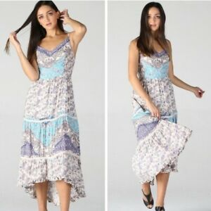 NWT-Angie-White-Floral-V-Neck-HighLow-Racerback-Boho-Summer-Sun-Maxi-Dress-S-M-L