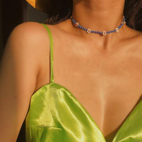 Boho Women Handmade DIY Beaded Flower Choker Necklace Charm Chain Jewelry Gif DD