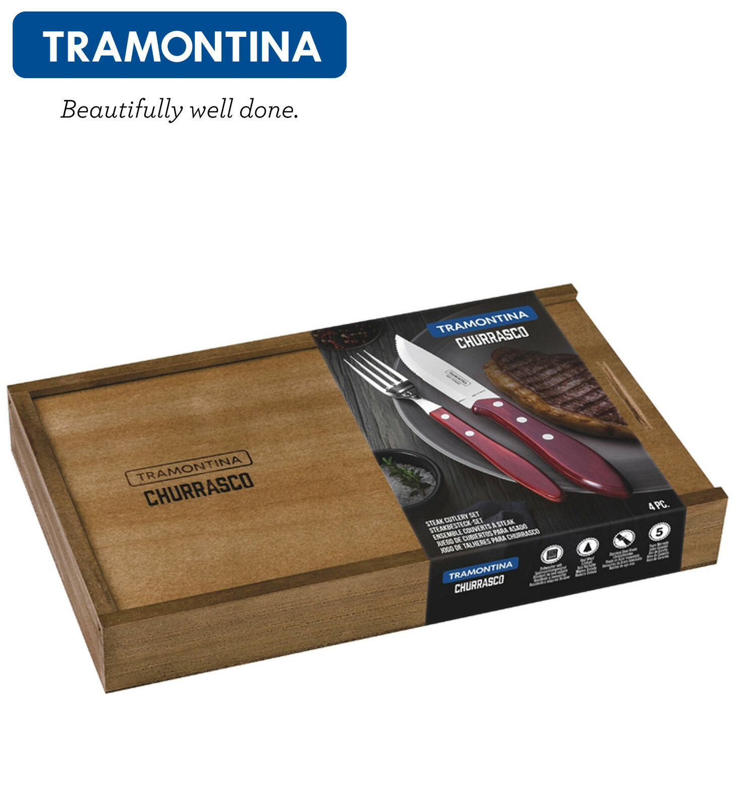 TRAMONTINA Steak Cutlery 4Ps.Jumbo Steak Knife Fork Churrasco PREMIUM FANDAGO