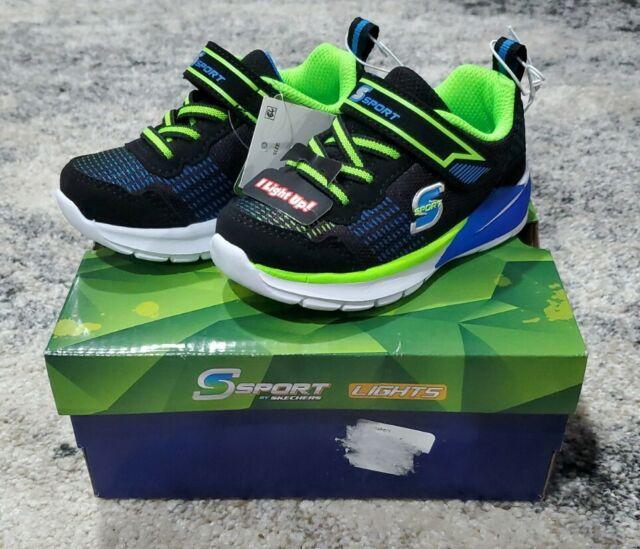 Toddler Boys' S Sport by Skechers Esmen Light-up Sneakers Size 6 Shoes Black NIB
