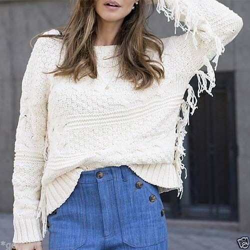 Pullover Sweater M Size One Jacket With Fringes Jacke Zara Knited Fransen Poncho T1FKJcl3