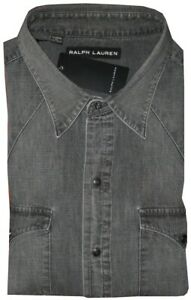 NEW-RARE-RALPH-LAUREN-BLACK-LABEL-DENIM-JEAN-TEXAS-WESTERN-STYLE-SLIM-SHIRT-XL