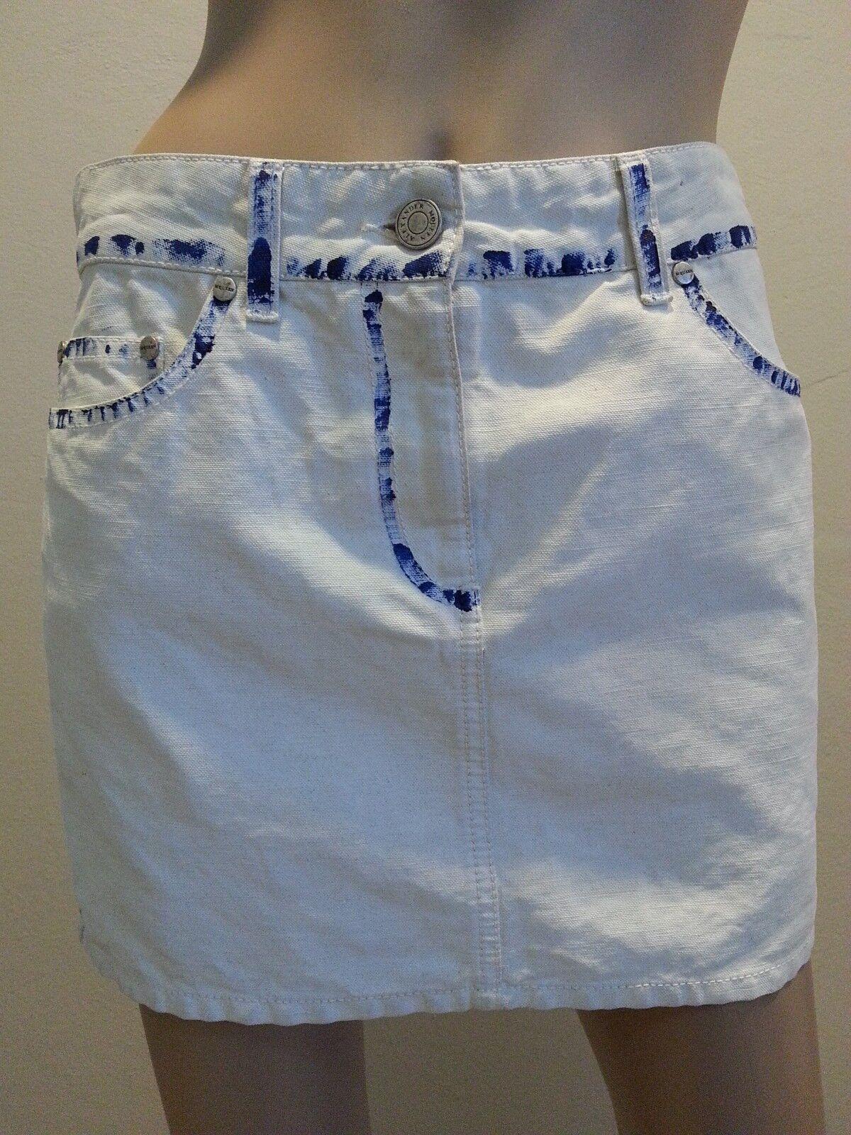 Alexander Mcqueen  Linen Cotton Painted Mini Skirt 40 4 S