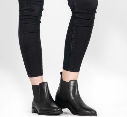 Shuperb Pippa para Señoras mujeres de Cuero Suave Tirar Chelsea Tobillo Botas Negro