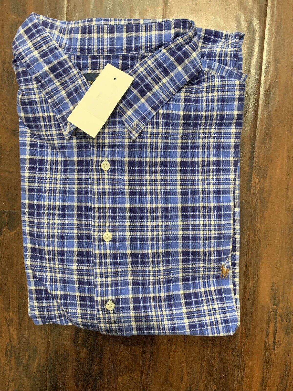 New Polo Ralph Lauren Men  bluee Oxford Shirt 3XB 3X Big  Cotton Long Sleeve