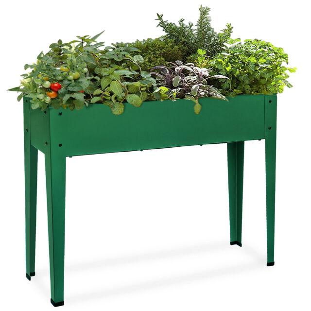 Raised Planters On Legs: Metal Raised Garden Bed Kit Elevated Planter Box Outdoor