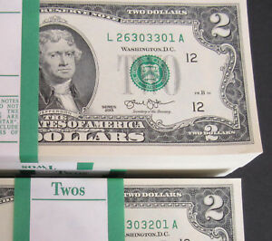 ONE New Sequential Uncirculated $2 Dollar Bill from BEP Pack Series 2013