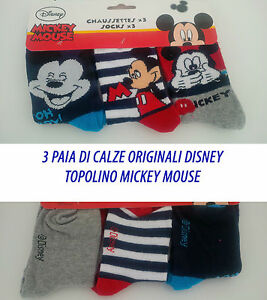 3-Paires-de-Chaussettes-Original-Disney-Mickey-Lot-Assorti-Souris
