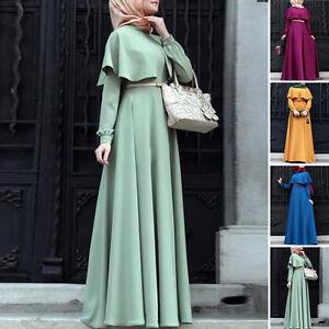 musulmane-caftan-Jilbab-Abaya-islamique-femmes-Maxi-VINTAGE-ROBE-AVEC-CEINTURE