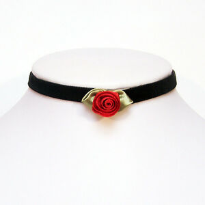 Ruby-Red-ROSE-velvet-gothic-choker-necklace-rosebud-steampunk-goth-victorian