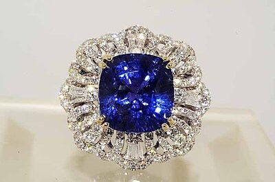 $118000 16.84Ct Lapis Gem Certified No Heat Color Change Sapphire & Diamond Ring