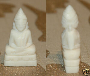 Buddha Figur Beinarbeit Handgeschnitzt 3cm / weiss