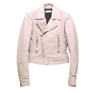 Authentic-Balenciaga-Riders-Jacket-Outer-Coat-Lamb-SKin-Leather-Pink-Women-34