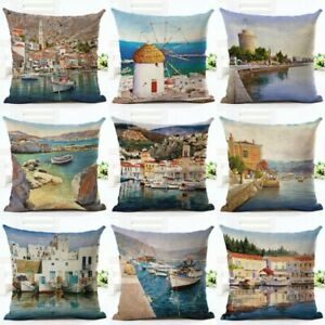 Scenery-Coastal-Town-Shipping-Pillow-Case-Cushion-Cover-Port