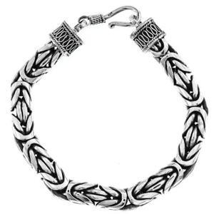 8mm Bold Mens Byzantine Chain Bali Handmade 925 Sterling Silver