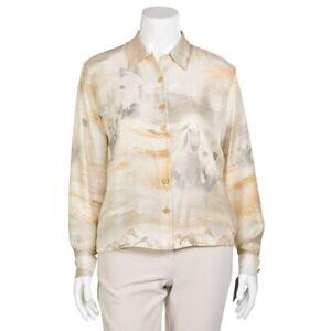 Escada-835-Camel-Cream-Equestrian-Horse-Print-100-Silk-Blouse-Shirt-Top-40-10