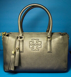TORY-BURCH-THEA-Silverish-Gray-Soft-Pebbled-Leather-ZIP-SATCHEL-Good-Used-Cond