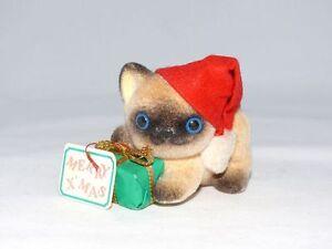 Vintage-Christmas-Josef-Original-Santa-Cat-Fuzzy-Porcelain-Walt-Disney-World