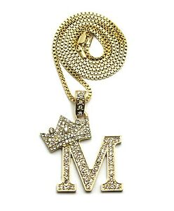 Iced out letter m crown micro pendant 24 various chain fashion image is loading iced out letter 034 m 034 crown micro aloadofball Gallery
