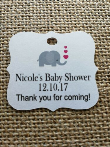 Grey pink elephant Personalised Baby Shower Guest Tags Sweet Favours x30