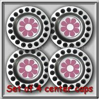 4 2000-2001 Vw, Volkswagen Beetle Pink Daisy Alloy Wheel Center Caps, Hubcaps