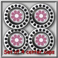 4 2002-2003 Vw, Volkswagen Beetle Pink Daisy Alloy Wheel Center Caps, Hubcaps