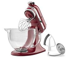 KitchenAid 5 Qt Stand Mixer w/ Glass Bowl & Flex Edge Beater - Empire Red