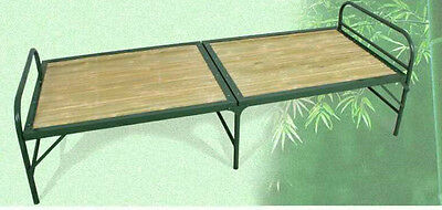 Bamboo Foldable Bed Steel Frame Strong Firm Durable Light