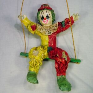 Vintage-Hand-Made-Paper-Mache-CLOWN-on-Swing-Distressed-16-034-Spooky-Scary