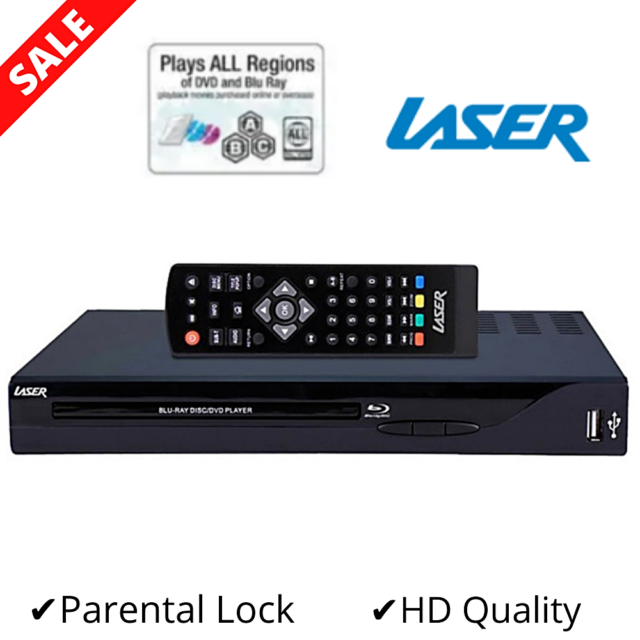 LASER Multi Region Free Blue Blu Ray Player CD Disc HDMI USB Portable DVD 1080p