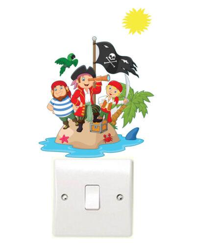 Enfants Pirate Island Interrupteur De Lumière Mur Art Vinyle Autocollants Pan Crochet Treasure