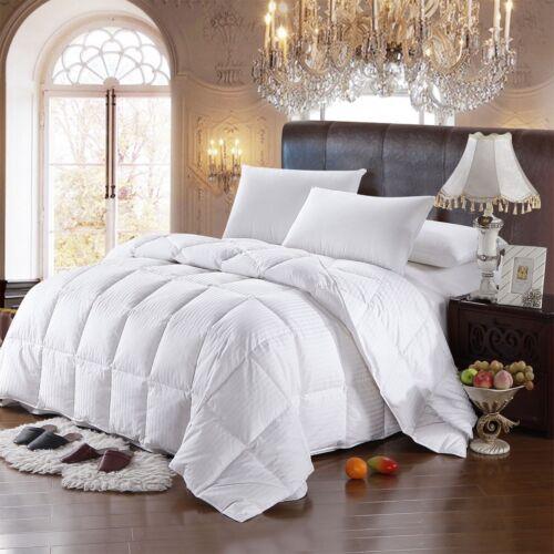Goose Down Comforter All Season Medium Warmth 100% Cotton Striped Duvet Insert