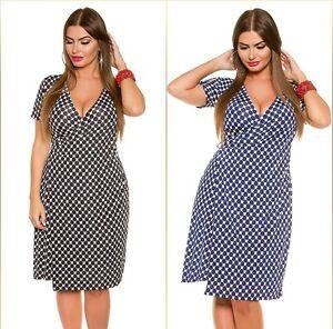 beliebt kaufen klar in Sicht Stufen von Details zu Koucla Curvy Girls Wickel Kleid Minikleid Sommerkleid  Wickelkleid gemustert