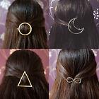 Gold Fashion Hair Clip Hair Pins Moon Triangle Infinity Circle Barette Hairclip