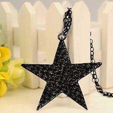 XXL SCHWARZER STERN Kette glieder Halskette Vintage black star necklace schwarz