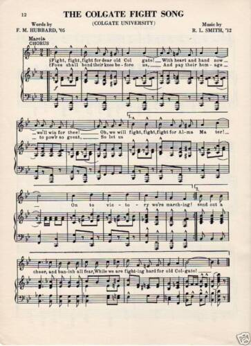 Hamilton New York music Vintage COLGATE UNIVERSITY Fight song sheet c1960s