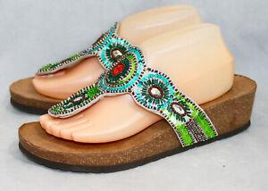 White Mountain Blast Beaded Sequin Wedge Cork Thong Sandal