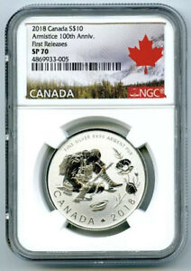 2018-10-CANADA-SILVER-10-DOLLAR-100TH-ARMISTICE-WWI-NGC-SP70-FIRST-RELEASES