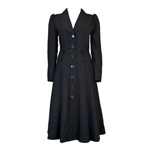 Adult Womens Mary Poppins Black Victorian Costume Button Up Jacket Coat S M L XL