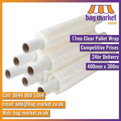 Strong 400mm x 17mu Clear /& Black Pallet Wrap250m//300mStretch//Cling//Shrink
