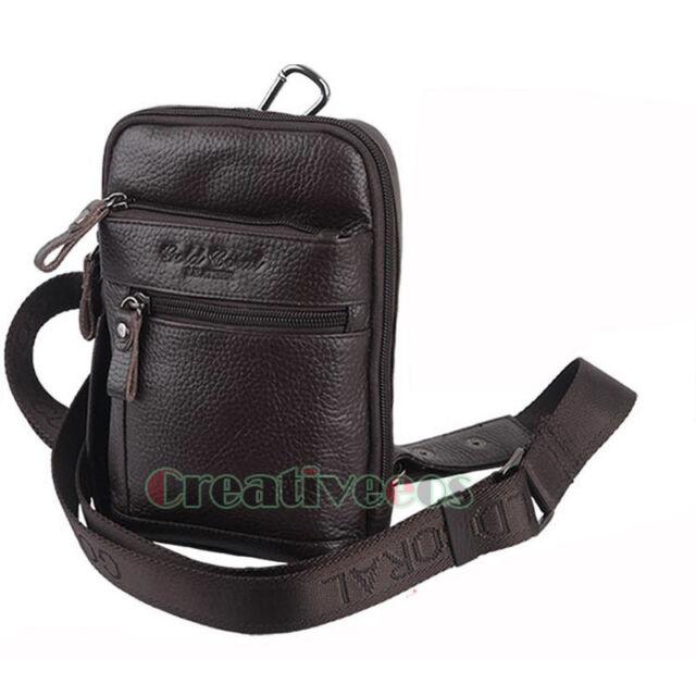 New Men Genuine Leather Messenger Shoulder Fanny Pack Waist Sling Chest Hook Bag