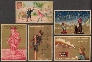 Victorian Trade Cards Lot, Soapine, Tub Soap, Kendall Mfg. 5 Diff.