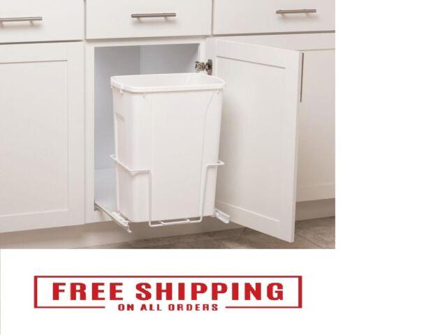 Pull Out Trash Can 35 Qt Inside Kitchen Cabinet White Plastic Single Waste Bin For Sale Online Ebay