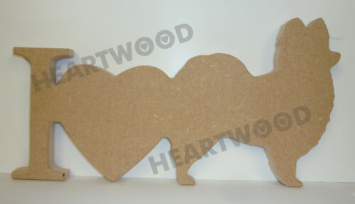 I LOVE PAPILLON DOGS PLAQUE IN MDF 145mm x 18mm thick //WOODEN CRAFT//DECORATION